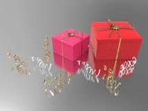3D подарки и confetti иллюстрации 2 розовые красные Стоковые Изображения RF