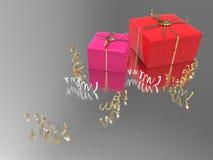 3D подарки и confetti иллюстрации 2 розовые красные Стоковая Фотография RF