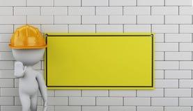 3d под знаком конструкции на кирпичной стене Стоковое Изображение RF