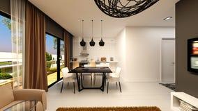 3d представляют живущей комнаты Стоковые Изображения RF