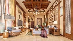 3d представляют живущей комнаты Стоковые Фото