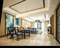 3d представляют живущей комнаты Стоковое Изображение RF