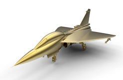 3D представляют - золотой реактивный истребитель Стоковые Фотографии RF