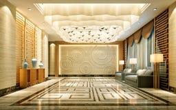 3d представляют интерьера роскошной гостиницы стоковые изображения