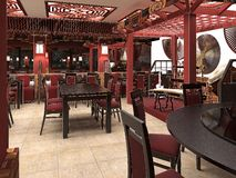 3d представляют китайского интерьера ресторана стоковая фотография rf