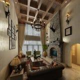 3d представляют комнаты прожития столба современной стоковые изображения