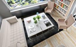 3d представляют космоса современного офиса сидя Стоковое Изображение