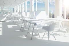 3d представляют красивого современного интерьера офиса Стоковые Изображения RF