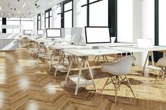 3d представляют красивого современного интерьера офиса Стоковое Изображение RF