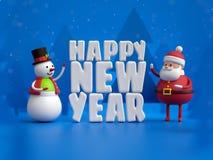 3d представляют, снеговик и Санта Клаус, игрушки, счастливый Новый Год белый l Стоковое Изображение