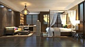 3d представляют современного гостиничного номера Стоковое Фото