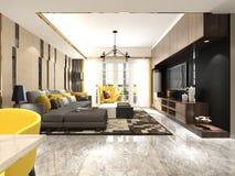 3D представляют современной живущей комнаты стоковое изображение