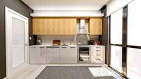 3d представляют современной кухни Стоковая Фотография RF
