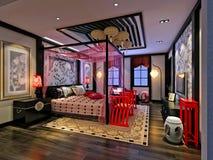 3D представляют современной спальни Стоковые Изображения RF