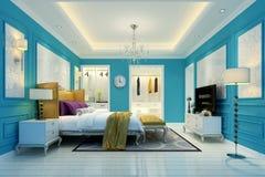 3D представляют современной спальни Стоковое Изображение