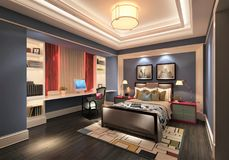 3D представляют современной спальни Стоковое Изображение RF