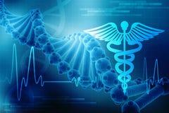 3d представляют структуры ДНК в медицинской предпосылке технологии, концепции биохимии с ДНК иллюстрация вектора