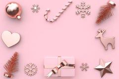 3d представляют украшение дерева снега подарочной коробки ленты золота лоснист-Роза пинка конспекта металлическое стоковое фото rf