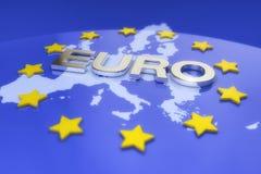 3d представляют - metal текст евро и карта Европы иллюстрация штока