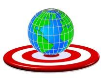 3D представляют s-глаз ` Bull с миром глобуса - изображением запаса, целью спорт, картой, планетой бесплатная иллюстрация