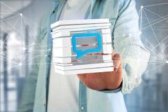 3D представляя голубой символ электронной почты показанный в отрезанном кубе Стоковое Фото
