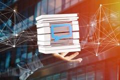 3D представляя голубой символ электронной почты показанный в отрезанном кубе Стоковые Изображения RF