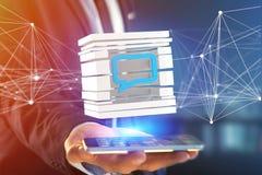 3D представляя голубой символ электронной почты показанный в отрезанном кубе Стоковое Изображение RF
