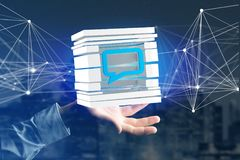 3D представляя голубой символ электронной почты показанный в отрезанном кубе Стоковая Фотография
