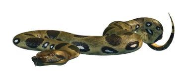 3D представляя зеленый Anaconda на белизне Стоковые Изображения