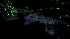 3D представляя конспект сети мира, интернета и глобальной концепции соединения Элементы этого изображения поставленные NASA Стоковое Фото
