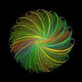 3D представляя красочный конспект фрактали в черной предпосылке стоковое фото