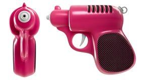 3d представляя набор мини ретро розовых водяного пистолета, фронта и взгляда со стороны, изолированного на белой предпосылке иллюстрация штока