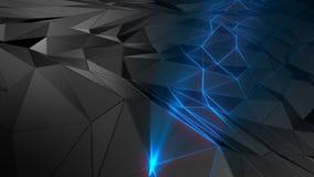 3D представляя поли абстрактного полигонального космоса низкое с соединяясь поверхностью стоковая фотография rf