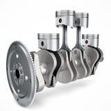 3D представляя поршени и cog двигателя V4 изолированными на белой предпосылке поршени двигателя 4 цилиндра кривошина 3d Четырехци Стоковое Изображение RF