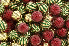 3d представляя рождество, Новый Год, праздничные шарики золота, зеленых и красных стоковое фото rf