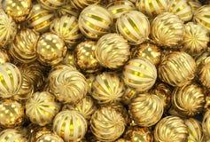 3d представляя рождество, Новый Год, праздничные шарики золота стоковая фотография rf