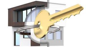 3D представляя смешало с чертежом и планом экстерьера дома вместе с ключом золота Как символ  бесплатная иллюстрация