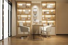 3d представляя современную деревянную роскошную комнату деятельности Стоковое Фото