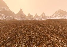 3D представляя туманные горы Стоковая Фотография