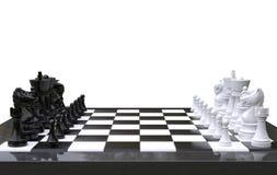 3d представляя шахматы на шахматной доске, изолированную белую предпосылку иллюстрация штока