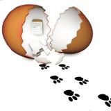 3D прервало яичко и spoor зайчика на белой предпосылке Стоковые Изображения RF