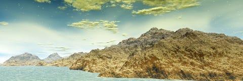 3d представило планету чужеземца фантазии панорама Стоковое Изображение RF