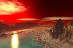 3d представило планету чужеземца фантазии Утесы и заход солнца Стоковая Фотография RF