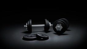 3D представляют весов спортзала в темноте Стоковое Фото