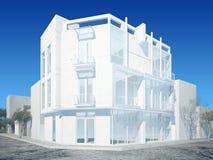 3d представляют внешнего здания Стоковые Фотографии RF