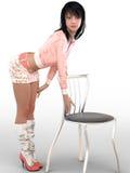 3D представляют женщины с стулом Стоковая Фотография
