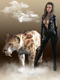 3D представляют женщины с тигром sabertooth Стоковые Фотографии RF