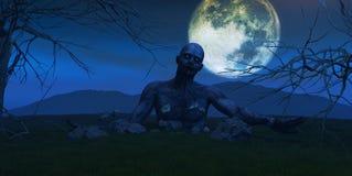 3D представляют зомби приходя из земли Стоковая Фотография