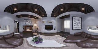 3d представляют дизайна интерьера живущей комнаты Стоковое фото RF