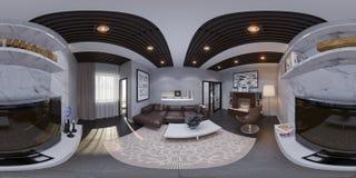 3d представляют дизайна интерьера живущей комнаты Стоковые Изображения